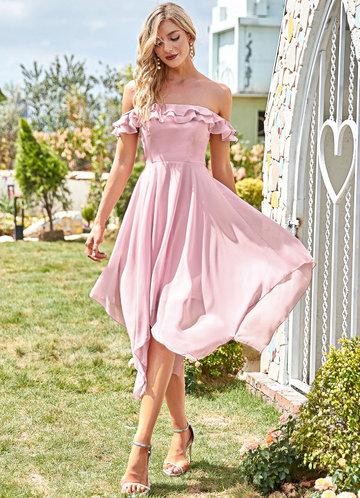 front_EVER-PRETTY Off Shoulder Layered Ruffle Detail Hanky Hem Dress