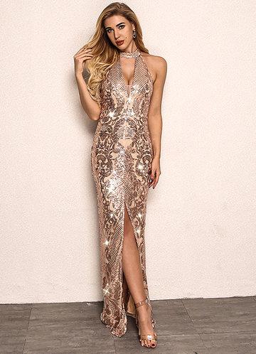front_Joyfunear Split Hem Backless Halter Sequin Maxi Dress