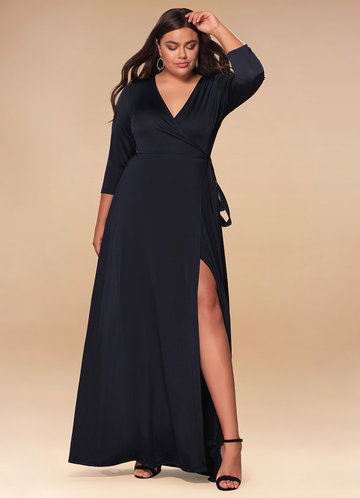 Sway Dark Navy Wrap Maxi Dress