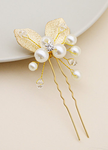 front_Dainty Pearl Swirl Hair Pin
