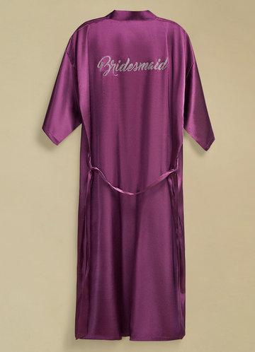 front_Pre-Wedding Long Rhinestone Bridesmaid Robe