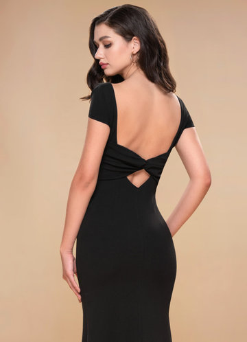 Pure Beauty Black Stretch Crepe Maxi Dress