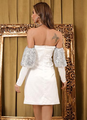 back_Missord Sequin Gigot Sleeve Bardot Dress