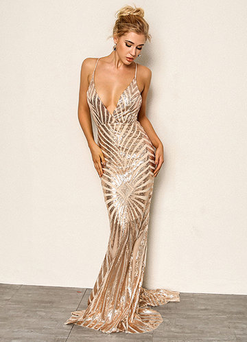 front_Joyfunear Crisscross Open Back Fishtail Metallic Sequin Dress