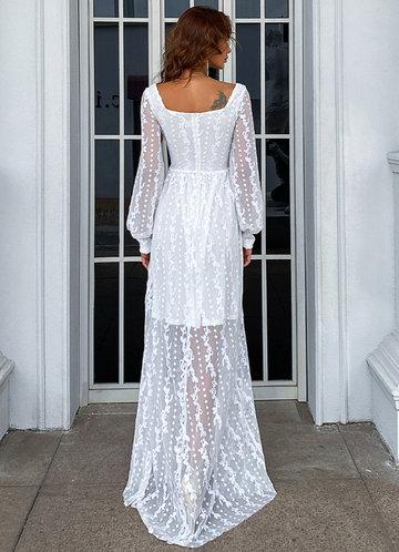 back_Missord Sheer Embroidery Mesh Sleeve Dress