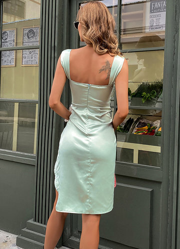 back_Missord Wrap Hem Satin Bustier Dress
