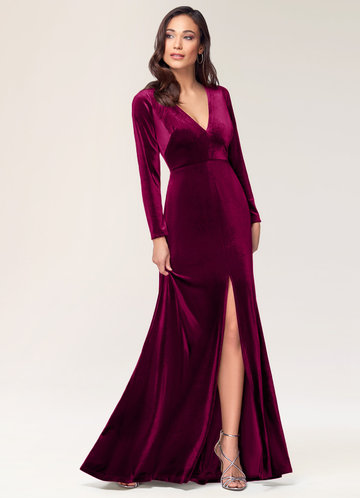 front_Blush Mark New Moon {Color} Velvet Maxi Dress