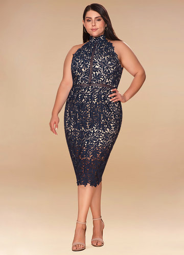 Palermo Navy Blue Lace Midi Dress