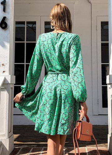 back_Missord Ditsy Floral Print Lantern Sleeve Belted Dress