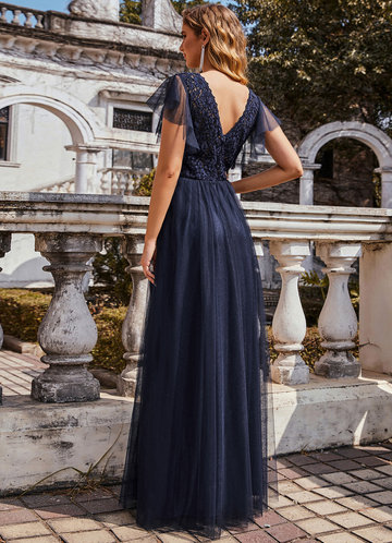 back_AZ V-Neck Floral Lace Sheer Floor-Length Vintage Prom Dress