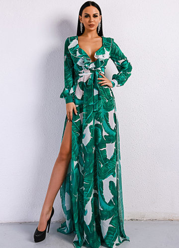 front_Missord Tropical Print Ruffle Trim Belted Dress