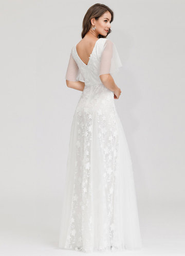 back_EVER-PRETTY Flutter Sleeve Embroidered Mesh Prom Dress