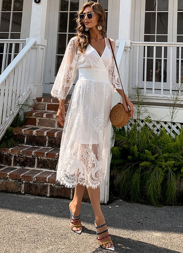 front_Missord Surplice Neck Lace Overlay Dress
