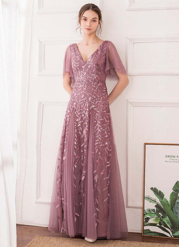 front_EVER-PRETTY Contrast Sequin Plants Detail Mesh Dress