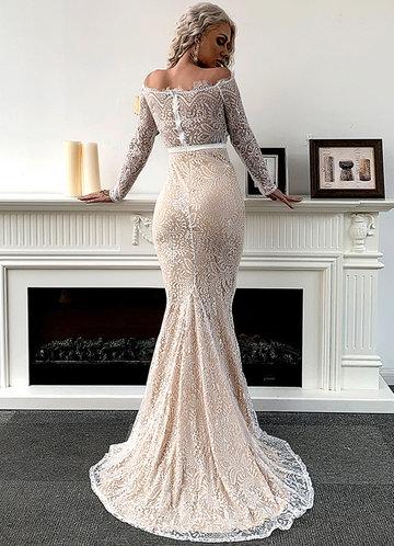 back_Missord Off Shoulder Ribbon Waist Lace Mermaid Dress
