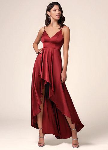 Lipstick Burgundy Satin Dress