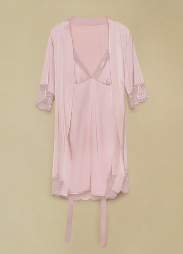 back_Short Sleeve Vintage Satin Robe