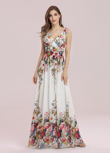 front_EVER-PRETTY Double V Neck Floral Print Prom Dress
