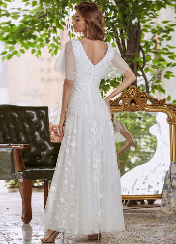 back_AZ Flutter Sleeve Embroidered Mesh Prom Dress