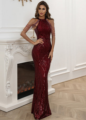 front_AZ Halter Neck Sequin MermaidProm Dress