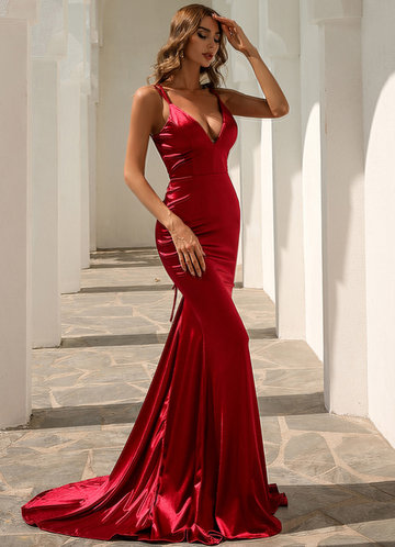 front_Missord Lace Up Back Satin Mermaid Dress