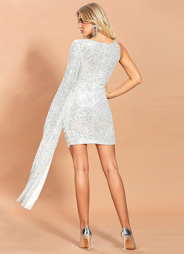 back_Missord Cut-out Split Sleeve Wrap Sequin Bodycon Dress