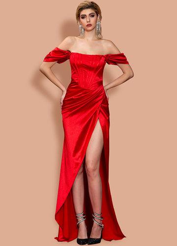 front_Missord Off Shoulder Satin Maxi Dress
