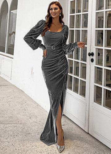 front_Missord Bishop Sleeve Belted Velvet Prom Dress