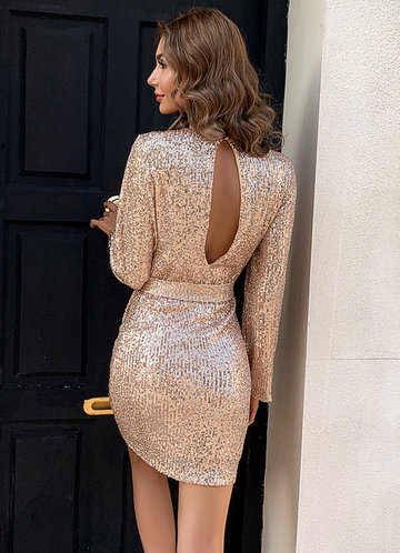 back_Missord Keyhole Back Belted Sequin Dress