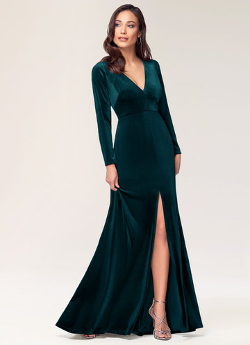 New Moon Dark Green Velvet Maxi Dress