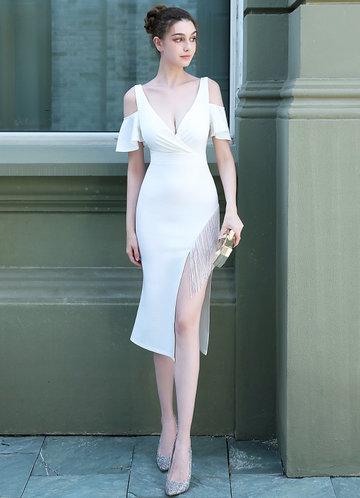front_Kalinnu Side Bead Trim Midi Dress