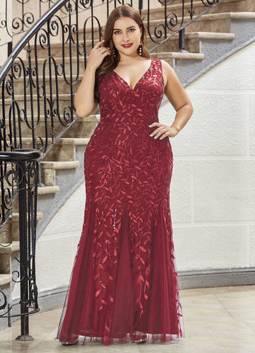 front_AZ Plus Size Sequin Plants Detail Mesh Prom Dress