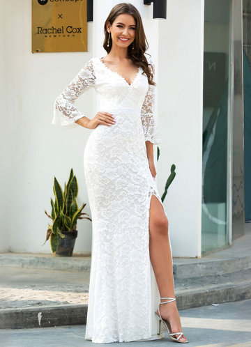 front_EVER-PRETTY Bell Sleeve Split Fishtail Hem Lace Overlay Dress