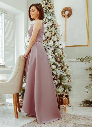 back_EVER-PRETTY Sequin Waist High Low Satin Formal Dress