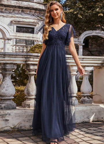 front_AZ V-Neck Floral Lace Sheer Floor-Length Vintage Prom Dress