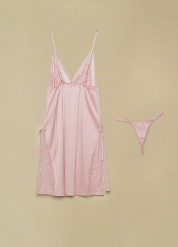 front_Vintage Lace Satin Slip And Thong