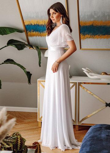 back_EVER-PRETTY Ruched Bodice Ribbon Waist Chiffon Dress