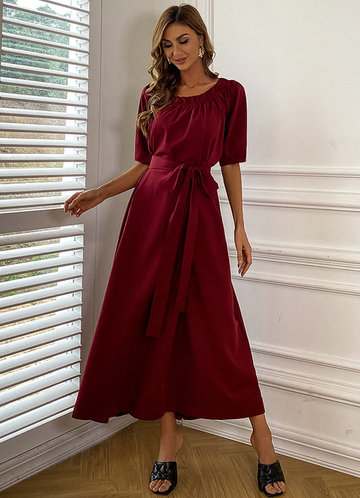 front_Missord Puff Sleeve Frill Trim Belted Dress