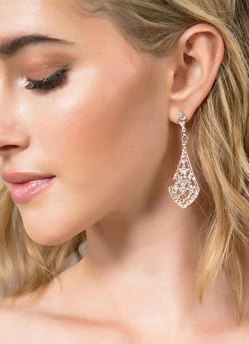front_Charming Rhinestone Drop Earrings