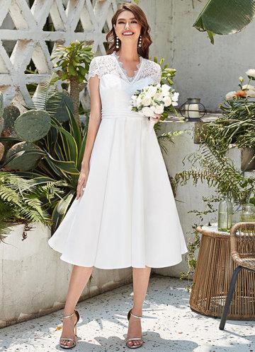 front_EVER-PRETTY Sheer Lace Yoke Pleated Waist Dress