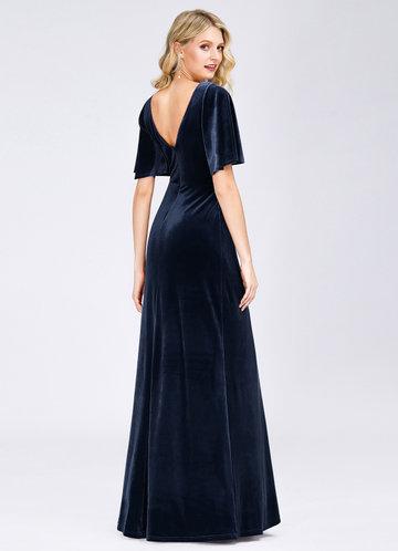 back_EVER-PRETTY Surplice Neck Flutter Sleeve Velvet Dress