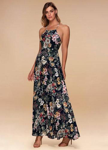 Majestic Dark Navy Floral Print Maxi Dress