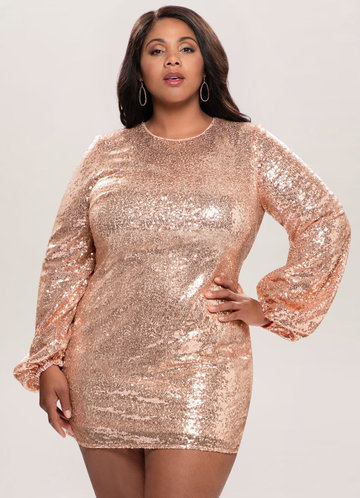 Perfect Glam Rose Gold Sequin Mini Dress