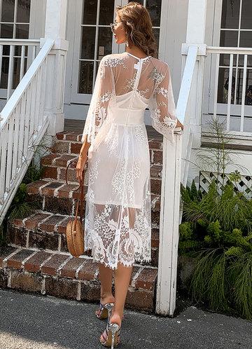 back_Missord Surplice Neck Lace Overlay Dress