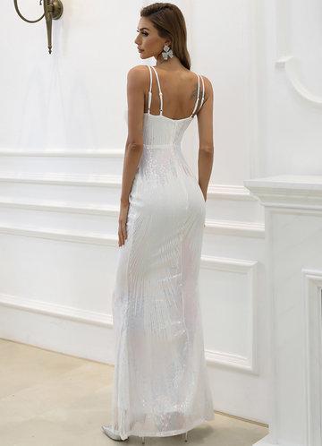 back_Missord Mesh Insert Sequin Mermaid Hem Dress