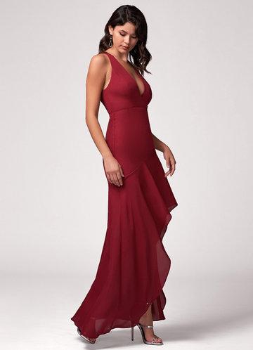 Fascinating Burgundy Maxi Dress