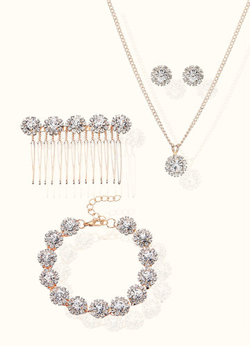 front_Elegant Earrings Necklace Bracelet and Hair Combs Jewelry Set