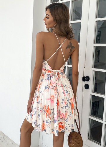 back_Missord Floral Criss Cross Backless Pleated Hem Dress