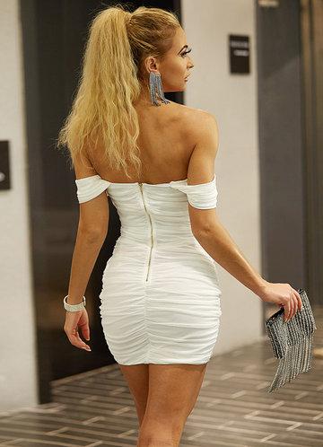 back_Joyfunear Draped Off Shoulder Ruched Dress