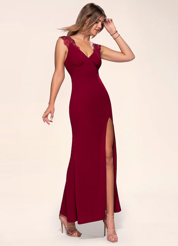 back_Blush Mark Elegant Love {Color} Stretch Crepe Maxi Dress
